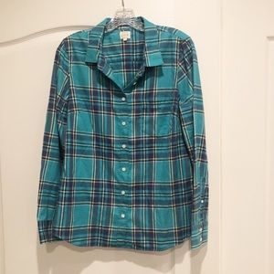 J. Crew Factory Turquoise Blue Plaid Perfect Shirt